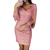 Lovely Stylish V Neck Hollow-out Pink Mini Prom Dr