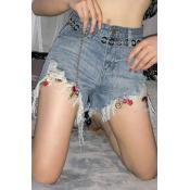 Lovely Stylish Tassel Design Blue Shorts