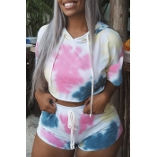 Lovely Casual Hooded Collar Printed Multicolor Two