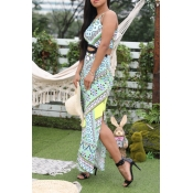 Lovely Bohemian Printed Hollow-out Green Ankle Len