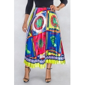 Lovely Ethnic Style Totem Printed Yellow Ankle Len