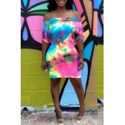 Lovely Leisure Off The Shoulder Tie-dye Multicolor