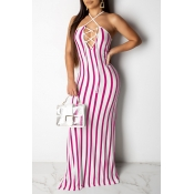 Lovely Sexy Halter Neck Striped Hollow-out Rose Re