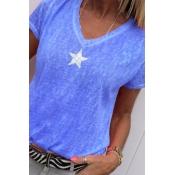 Lovely Casual V Neck Pentagram Printed Blue T-shir