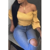 Lovely Casual Off The Shoulder Yellow Blouse