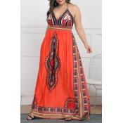 Lovely Ethnic Style Totem Printed Orange Floor Len