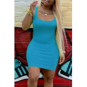 Lovely Casual U Neck Cyan Mini Dress