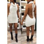 Lovely Sexy Turtleneck Backless White Mini Dress