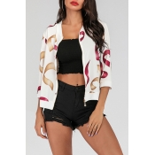 Lovely Casual Printed Zipper Design White Jacket