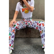 Lovely Stylish High Waist Printed White Pants