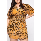 Lovely Casual V Neck Leopard Printed Yellow Mini P
