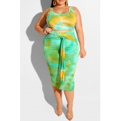 Lovely Casual Tie-dye Lake Blue Plus Size Two-piec