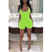 Lovely Casual Patchwork Green One-piece Romper