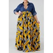 Lovely Casual Turndown Collar Printed Patchwork Yellow Ankle Length Plus Size Dress