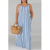 Lovely Casual Spaghetti Straps Striped Blue Floor Length Plus Size Dress