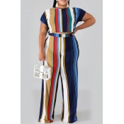 Lovely Casual O Neck Striped Printed Royalblue Plus Size Two-piece Pants Set