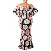 Lovely Stylish Off The Shoulder Floral Printed Mul