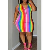 Lovely Casual V Neck Striped Multicolor Mini Plus