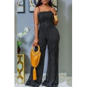Lovely Sexy Dot Printed Black One-piece Jumpsuit
