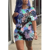 Lovely Casual Printed Blue Two-piece Shorts Set