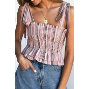 Lovely Sweet Spaghetti Straps Striped Light Pink T