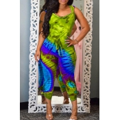 Lovely Casual Hooded Collar Printed Backless Green One-piece Jumpsuit
