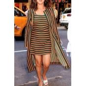 Lovely Casual O Neck Striped Jacinth Mini Dress(Wi