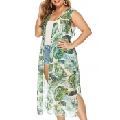 Lovely Casual Printed Green Chiffon  Plus Size Ves