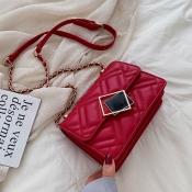 Lovely Chic Chain Design Red Messenger Bag
