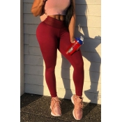 Lovely Sexy Patchwork Wine Red Pants