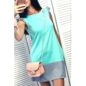 Lovely Casual O Neck Patchwork Grey Mini T-shirt D