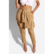 Lovely Casual High Waist Brown Pants