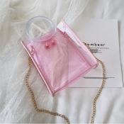 Lovely Stylish See-through Light Pink Pvc Messenger Bag