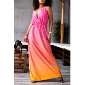 Lovely Bohemian Sexy Deep V Neck Backless Rose Red