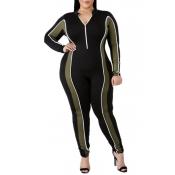 Lovely Casual Patchwork Zipper Design Black Plus Size One-piece Jumpsuit