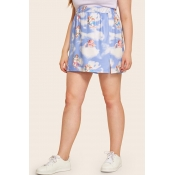 Lovely Casual Angel Printed Blue Plus Size Skirt