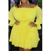 Lovely Stylish Off The Shoulder Ruffle Yellow Mini