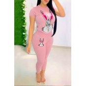 Lovely Casual Printed PinkTwo-piece Pants Set