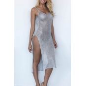 Lovely Sexy V Neck See-through Side Split Silver A