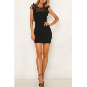 Lovely Sweet Lace Patchwork Black Mini OL Dress