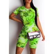 Lovely Casual O Neck Printed Green Two-piece Short
