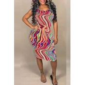 Lovely Bohemian Tie-dye Print Multicolor Mini Dres