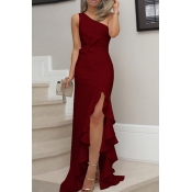 Lovely Elegant One Shoulder Asymmetrical Wine Red