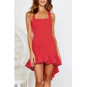 Lovely Bohemian Square Collar Spaghetti Straps Ruffle Red Mini Dress
