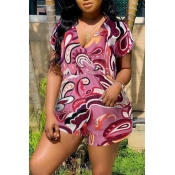 Lovely Stylish V Neck Printed Rose Red One-piece Romper