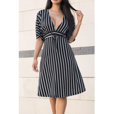 Lovely Stylish V Neck Striped Black Knee Length Dress