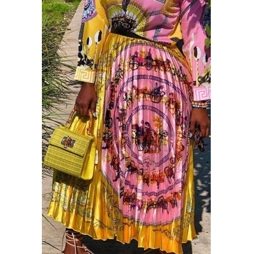 Lovely Bohemian Printed Gold Ankle Length A Line Skirt
