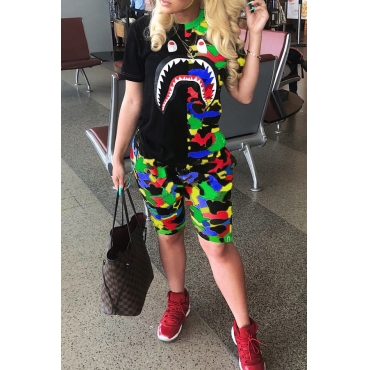 Lovely Leisure Camo Print Patchwork Multicolor Two-piece Shorts Set