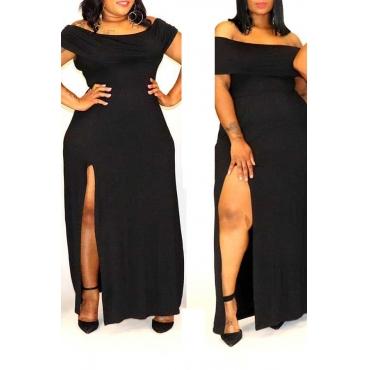 Lovely Casual Off The Shoulder Side Split Black Ankle Length Dress
