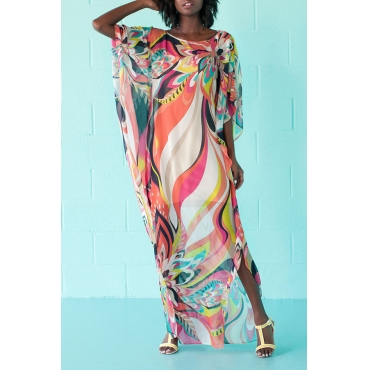 Lovely Stylish O Neck Printed Multicolor Cover-up